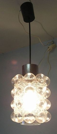 60´s Mid CenturyGerman Glass  Bubble Ceiling Lamp #CH1