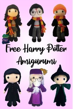 Great Totally Free crochet amigurumi harry potter Concepts Free Amigurumi Harry Potter patterns including Hermione, Harry, Ron, Snape, Dumbledore and McGonaga Harry Potter Free, Harry Potter Crochet, Harry Potter Dolls, Cute Crochet, Crochet Crafts, Crochet Baby, Crochet Projects, Sewing Projects, Sewing Tips