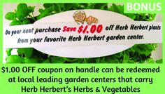 Fundraising with herbs and tomatoes. $1.00 off.