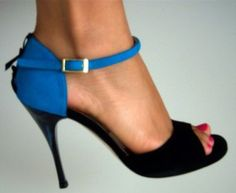 3rd pair - classic comme il faut in turquoise and black with black ribbons on heel cage