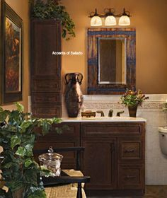 Tuscan Bedroom and Bath Luxury Master Bathroom Decorating with Tuscan bathroom accessories and Tuscan style mirrors Tuscan Bathroom Decor, Bathroom Styling, Bathroom Ideas, Bathroom Stuff, Bathroom Mirrors, Bathroom Furniture, Tuscan Style Homes, Tuscan House, Home Decor Catalogs