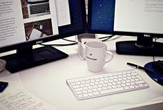 Cup, Desk, Desktop, Monitor