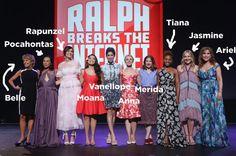 From left to right we have: Paige O'Hara (Belle), Irene Bedard (Pocahontas), Mandy Moore (Rapunzel), Auli'i Cravalho (Moana), Sarah Silverman (Vanellope), Kristen Bell (Anna), Kelly Macdonald (Merida), Anika Noni Rose (Tiana), Linda Larkin (Jasmine), and Jodi Benson (Ariel).