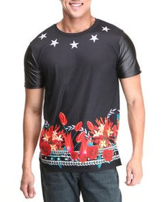 Stars Sublimation with PU Sleeves Tee by Buyers Picks