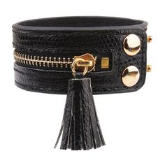 BLACK Zip Faux Leather Bracelet
