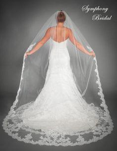 Fabulous Lace edge Cathedral Length Wedding Veil 6435VL by Symphony Bridal- Affordable Elegance Bridal -