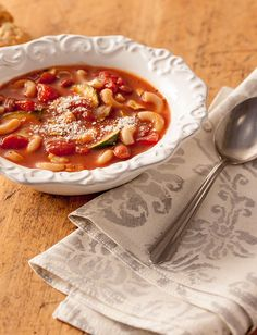 Minestrone Soup - Recipes   Tuttorosso Italian Vegetable Soup, Seafood Pasta, Vegetarian Soup, Vegan Life, Soup Recipes, Recipies, Soups And Stews, Italian Recipes, Stuffed Peppers