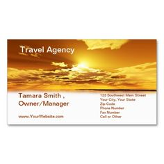 Travel Agency Business Card Template. This beautiful business card design is available for customization. All text style, backgrounds, colors and sizes can be modified to fit your needs. Just click the image to learn more.