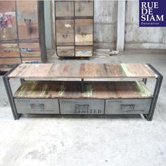 meuble tv bois métal de style industriel. réalisation sur mesure ... - Meuble En Fer Design