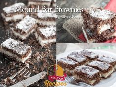 This combination of chocolate and coconut is way too good, it does not take long preparation, about 30 minutes more cooking time, really worth. The thick and fudgy brownies are, the macaroon filling made it taste a little like a Mounds bar just to-die-for! Yum-o-licious !!!! Mound Bar Brownies The ingredients: Brownies: 1 cup butter, softened 2 cups sugar 4 eggs 1 tsp. vanilla extract 2 cups flour 1/2 cup baking cocoa 1/2 tsp. cream of tartar (I didn't have any, and they still turned out…
