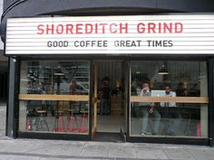 Shoreditch Grind Café @ Old Street Container Cafe, Container House Design, Container Homes, Restaurant Concept, Cafe Restaurant, Ciao Pizza, Grind Cafe, Old Street, Street Food
