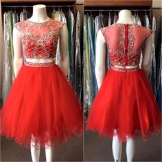 Sexy Prom Dress,Red Beading Prom Dress,Short Homecoming Dress,Tulle Prom Gown…
