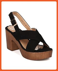 Women Faux Suede Block Heel Sandal - Platform Chunky Heel - Faux Wooden Slingback Heel - GI49 By Alrisco - Black Faux Suede (Size: 7.0) - Sandals for women (*Amazon Partner-Link)
