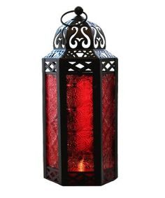 Amazon.com - Mid Size Table/hanging Red Hexagon Moroccan Candle Lantern Holders -