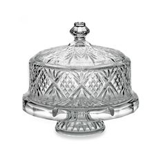 godinger dublin crystal 4 in 1 footed cake plate with dome cover