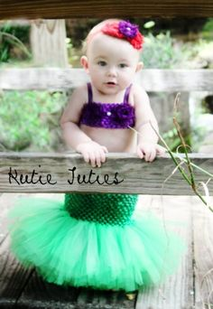 The Little Mermaid Tutu dress, crochet top with mermaid tail, Halloween Costume, baby girl, infant, toddler 0-3, 3, 6, 9, 12, 24, 2t by diel...
