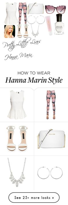 """Pretty Little Liars Hanna Marin"" by nutellaismybae-1 on Polyvore featuring H&M, Just Cavalli, Michael Kors, Givenchy, Tom Ford, Lancôme, Deborah Lippmann, cute, LoveIt and pll"