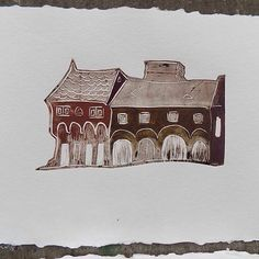 """""""Houses on Buda Hill"""", New linocut small series on handmade paper - color applied with roler and finger #linocut #printmaking #goddessgruia #anamariagruia #linopainting #printingexperiment #handmadepaper #budapest #budahill #artfromcluj #medievalarchitecture"""