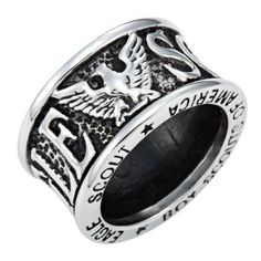 Brand New Mens Boy Scouts of America Eagle Scout Ring Crafted In Stainless Steel Comes In a Velvet ring Box