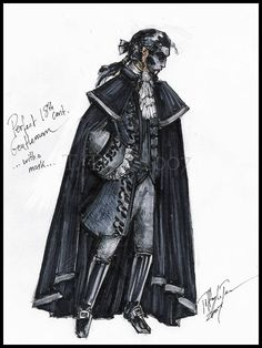 """18th Century Phantom - MotN by MadameGiry.deviantart.com on @deviantART - From the artist's comments: """"This is an 18th century interpretation of what Erik might have worn during the Phantom of the Opera/Music of the Night scene. On such an occasion, I imagined Erik, as in other versions, would have attempted to look as presentable and gentlemanly as possible (black mask notwithstanding)..."""""""