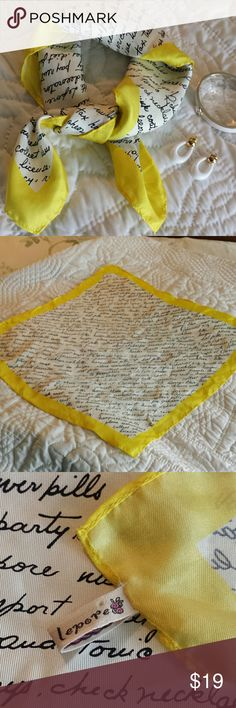 "Nanette Lepore Signature Silk Scarf Adorable yellow border with script writing of a to do list for a vacation.  20"" square.  One horizontal pull and one stretched area both flaws in last 2 pics. Wear on neck, as a pocket square, tie in a pony tail or on a purse.  Awesome spring summer accessory! Nanette Lepore Accessories Scarves & Wraps"