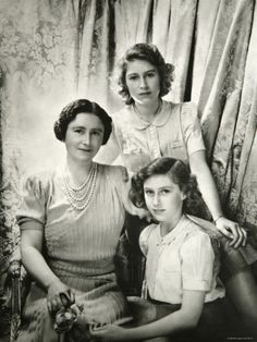 Princesses Elizabeth and Margaret with the Queen Mother.
