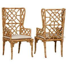 Island style gets a regal twist in the eye-catching Bamboo Wing Back Chair from Guildmaster. Artfully hand-carved of wood, this bamboo-inspired design showcases an open, breezy silhouette, warm natural finish, and comfortable muslin cushion. $1652.95