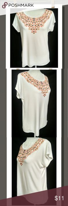 Decorative Top Nice top with a decorative print,  with just a splash of beads.  Tag says S but can also fit a PM NWOT Ruby Rd. Tops Tees - Short Sleeve