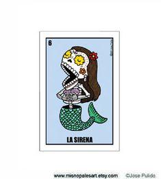 La Sirena Small Vinyl Sticker on Etsy, $1.00  Calavera Mermaid! Tattoo idea
