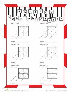 multiplication worksheet lattice multiplication two digit by two digit b work. Black Bedroom Furniture Sets. Home Design Ideas