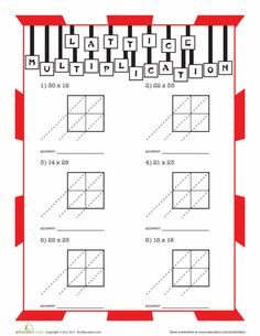 math worksheet : lattice multiplication  two digit by two digit a  : Lattice Division Worksheets
