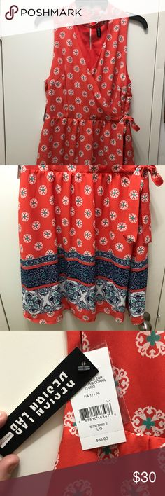 Lord and Taylor Dress- never worn w tags Patterned, mid length dress. Beautiful colors. Lord & Taylor Dresses Midi
