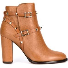 Valentino Garavani Rockstud Booties ($1,375) ❤ liked on Polyvore featuring shoes, boots, ankle booties, brown, valentino booties, high heel ankle booties, chunky boots, brown booties and brown boots