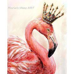 Flamingo art, Pink Flamingo wall art, Bird print, Bird wall art, Bird... ❤ liked on Polyvore featuring home, home decor, wall art, flamingo wall art, pink wall art, crown wall art, pink flamingo wall art and bird home decor