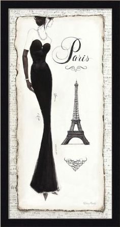 Elegance II by Emily Adams Black Dress Paris Fashion 25.5x13.5 Framed Art Print Picture Wall Décor by Framed Art by Tilliams