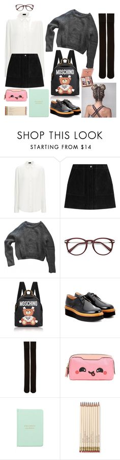 """Typical School Uniform"" by lit-nina ❤ liked on Polyvore featuring rag & bone, American Apparel, Moschino, Tod's, Marieyat, Anya Hindmarch, MiGOALS and Kate Spade"
