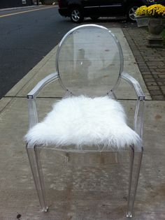 Ghost chair mongolian sheep pillow for my desk at home is needed