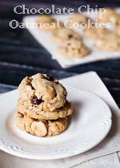 My husband gained 60 lbs eating these cookies one year!  They are made with ground oats for a great deep flavor, add chocolate chips and macadamia nuts and you have the perfect cookie.