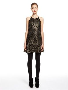 85f16e6acf0 Gold Foil Lace Sleeveless Halter Dress With Scalloped Ruffle Hem - DKNY  Online Clothing Stores