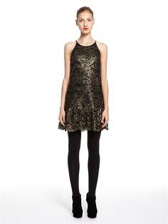 Gold Foil Lace Sleeveless Halter Dress With Scalloped Ruffle Hem - DKNY