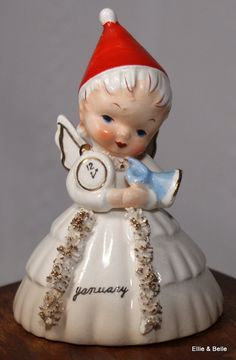 Napco Christmas Angel Bell Ceramic by EllieandBellevintage on Etsy,