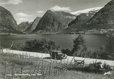 Sogn og Fjordane fylke  Kjosnesfjorden nær Skei i Jølster Bilen A-3387. 1930-tallet Utg Harstad