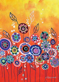 """Fine Art Print """"Whimsical Orange Flower Garden"""" by NYoriginalpaintings on Etsy."""