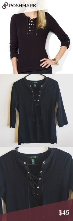 """Lauren Ralph Lauren Lace Up Top Worn once; like new condition. Beautiful black lace up top by Lauren Ralph Lauren. 3/4 sleeves. Size Medium. 100% Cotton. *Main photo is not the exact top; no buttons on sleeve* Length: approx 25"""". Armpit to armpit: approx 17.5"""". Sleeve length: approx 15"""". Lauren Ralph Lauren Tops"""