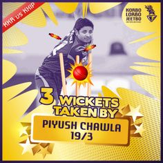 Fantastic three wickets bagged by #PiyushChawla   #kkrvskxip  #ChakDeKKR