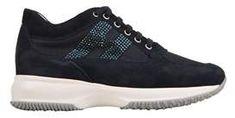 Hogan Women's Blue Leather Sneakers.