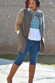 how to win at winter layering, perfectly executed looks that make the most of winter layers, thrift store outfit, thrift style, thrift fashion, ankara print crop top, white button up shirt, ASOS coat with fur sleeves | Thriftanista in the City
