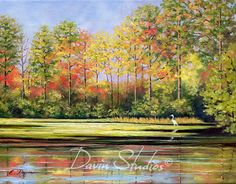 "River marsh painting. A white egret on marsh. ""Morning On The River"" art print of original oil painting by Eleanor Davin."