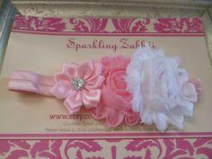 Pink and White headband, baby Pink Headband, White Toddler headband, Christening headband,Newborn Pink Headband,Baptism headband, Photo prop by SparklingZabbdi on Etsy https://www.etsy.com/listing/221979463/pink-and-white-headband-baby-pink