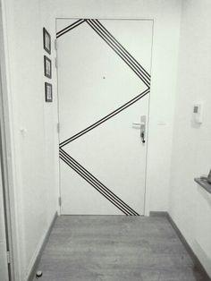 DIY door design with masking tape DIY door design with masking tape Washi Tape Door, Masking Tape Wall, Tape Wall Art, Tape Art, Mural Wall Art, Diy Wand, Door Design, Wall Design, Design Art